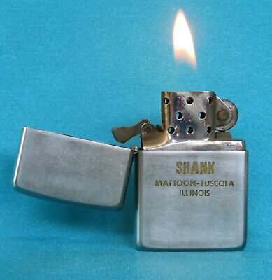 """Very Collectable Vintage 1967 Chrome """"Shank"""" Advertising Zippo Lighter."""