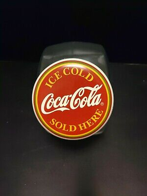Vintage Coca Cola Sold Here Glass Cookie Jar Canister Good Condition No Cracks