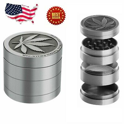 Tobacco Herb Grinder Spice Herbal Alloy Smoke Crusher 4 Piece Metal Chromium 2""