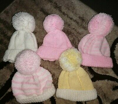 Bundle Of 5 Girls Hand Knitted Winter Hats with pompoms