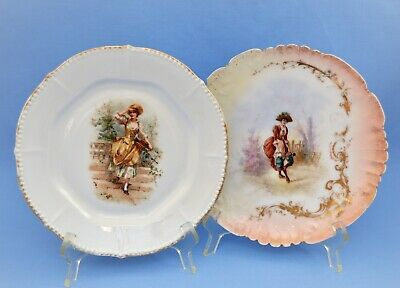 Antique French 2 Plates Figural Decoration Gold Gilt R. Ginori And Unknown