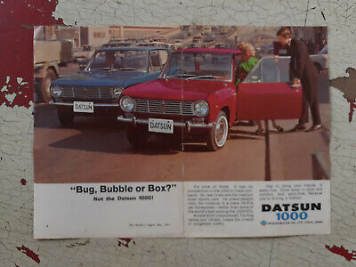 1967 Datsun 1000 2 Door Sedan Nissan 2 Page Aussie Original Magazine Advert 1