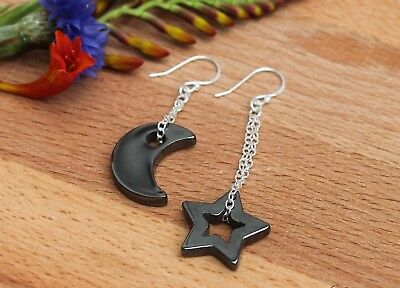 Hematite 925 Sterling Silver Moon and Star Mismatched Earrings