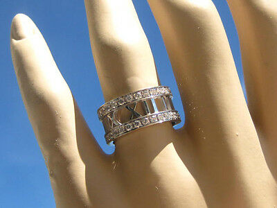 Tiffany & Co. Atlas Diamond 18K White Gold Wedding Engagement Ring Size 7.5 New