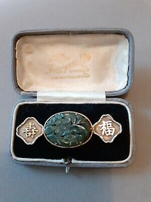 Antique Chinese Jade And Silver Brooch retailed by Finnigans of Bond street
