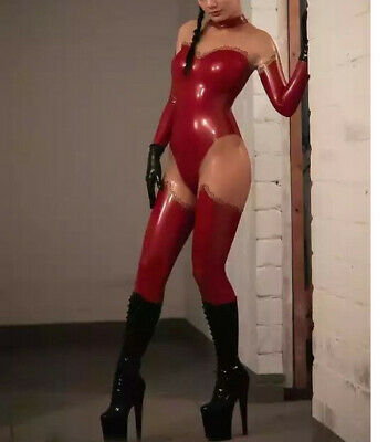 Latex Rubber Overall Catsuit Gummi Rot Cosplay Bodysuit Fashion Costume S-XXL
