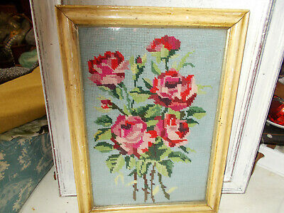 Vintage completed needlepoint tapestry picture roses framed good condition