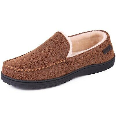 Men's Comfy Faux Leather Plush Moccasin Slippers House Shoes Indoor/Outdoor 11