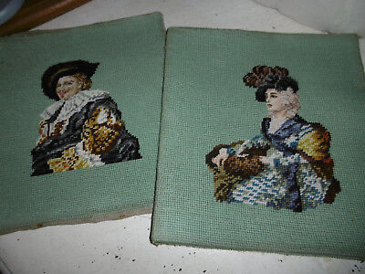 Vintage needlepoint tapestry pictures cavalier and lady very good condition