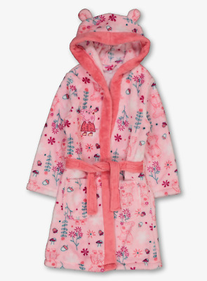 Peppa Pig Official Girls Pink Floral Fleece Hooded Dressing Gown 3-4 Years BNWT
