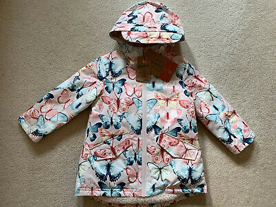 Debenhams Mantaray Pink Butterfly Winter Fur Lined Hooded Coat Age 2-3 BNWT