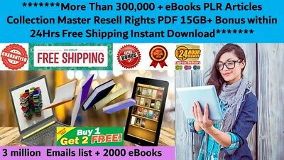 300,000+PLR articles eBooks Master Resell Right PDF +3 Million Emails+2000 Ebook