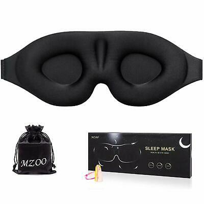 Sleep Eye Mask for Men Women, 3D Contoured Cup Sleeping Mask & Blindfold with Ea