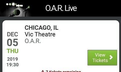 concert tickets Chicago,  OAR, 4 tickets at the Vic for Dec 5,  $202 for all 4