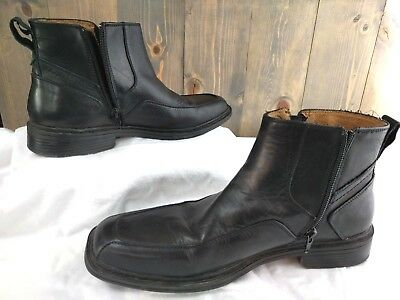 Florsheim Welter Side Zippered Black Smooth Leather Ankle Boots Men's Size 10 D