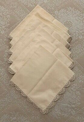 Vintage 50s Linen napkins with crocheted border (6)