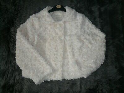Forever 21- Girls 11/12 years Cream Faux Fur Coat/Jacket fab cond't