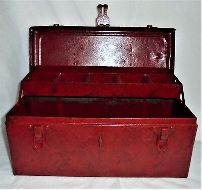Vintage METAL TOOL BOX Mechanics CARRY/TOTE  w/CANTILEVER TRAY DRAWER