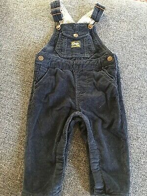 Zara Baby Boy Collection Infant 3-6mo Navy Blue Corduroy Overalls
