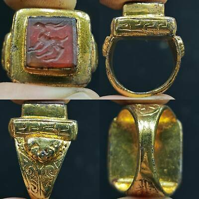 Medieval Agate stone Deer Intaglio Old Beautiful Rare Ring  # 63