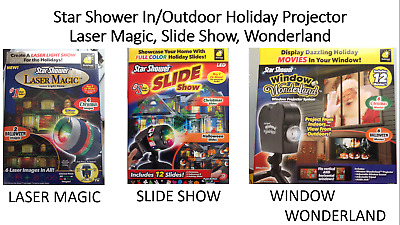 Star Shower In/Outdoor Holiday projector; Laser Magic, Slide Show, Wonderland