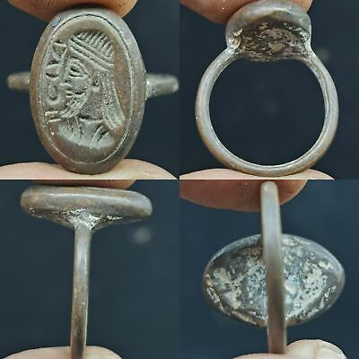 Wonderful Old King sassani face seal bronze Lovely Unique Ring   # 63