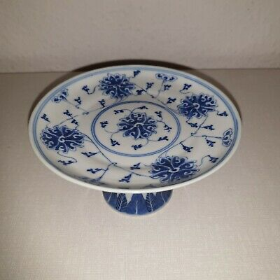 Antique Blue White Chinese Porcelain Stem / Plate 18th marked