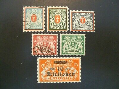 1922-23 Danzig Lot of 6 Stamps MH/Used - See Description For Scott Numbers