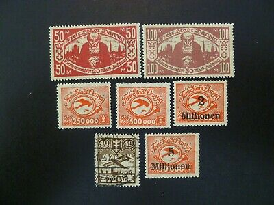 1923 Danzig BOB Lot of 7 Stamps MH & Used - See Description For Scott Numbers