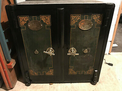 Samuel Withers Two Double Door Safe Art Deco Antique vintage cabinet industrial