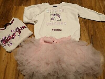 Ted Baker Next Unicorn Girls 3 piece Set Tutu Skirt Long Sleeve Top 2-3 Years