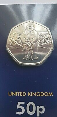2019 THE SNOWMAN 50P FIFTY PENCE UK CERTIFIED BUNC - Sealed on card in hand