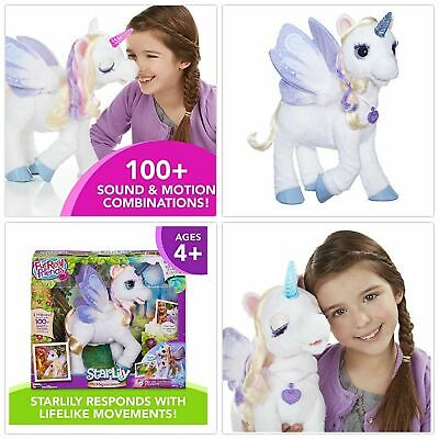 furReal StarLily My Magical Unicorn Interactive Plush Pet Toy, Light-up Horn