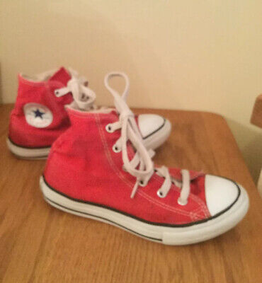 Converse Kids / Youthsize 1 Red All Star hi-top Trainers good condition, unisex