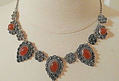 Antique Art Deco Sterling  Silver 960 Carnelian and Fancy Silver Necklace 1930's