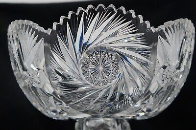 Antique American Abp Brilliant Cut Glass/Crystal 2-Piece Punch Bowl Very Unique