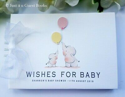 Personalised 3D Elephant Baby Shower Guest Book- Message Book- Scrapbook Album