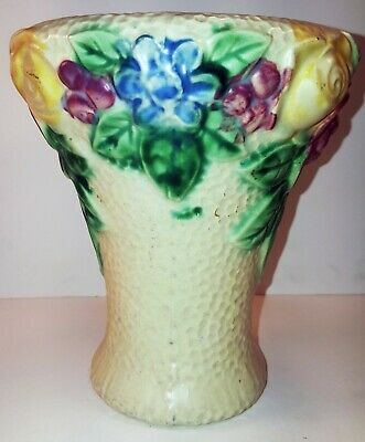 """Roseville Rozane 1917 Vase 6.25"""" Dimpled Creamware Red Yellow Blue Flowers"""