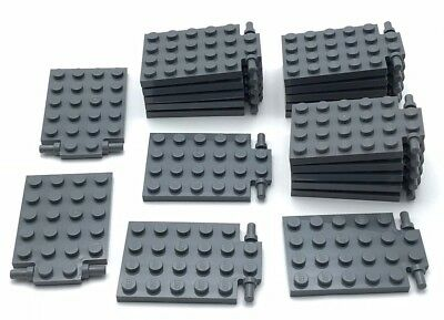 LEGO x 4 92099 NEUF Dark Bluish Gray Plate Modified 4x6 with Trap Door Hing