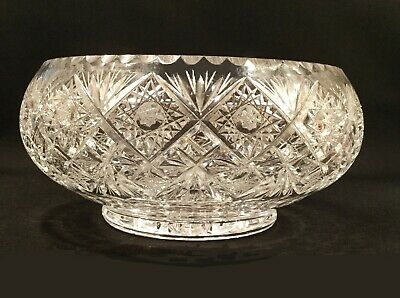 American Brilliant period compote bowl. Cut crystal. Hobstars.  8.5 pounds.