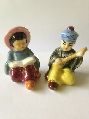 Rare Vintage Chinese Figures Man/Lady. Salt/Pepper Shakers. VGC.