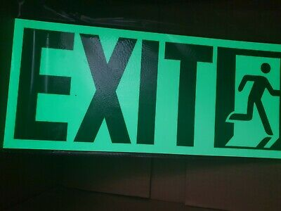 GLOW IN DARK EXIT SIGN+running man 370mmx150mm RorLHSstraight arrow strong glow