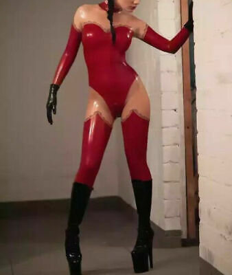 Hot Sale Latex Rubber Catsuit Schwarz&Durchsichtig Gummi Bodysuit Fixed Size L