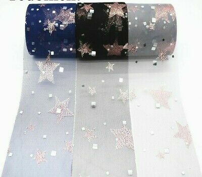 Pink Gold Star Foil Tulle Roll Organza Fabric Baby Shower Party DIY Hair Bows