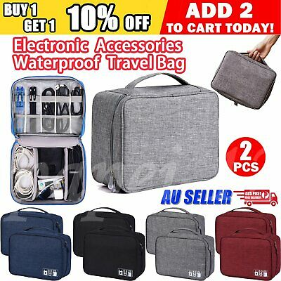 3C Electronic Accessories Storage Travel Case Cable Charger Organizer Bag USB AU