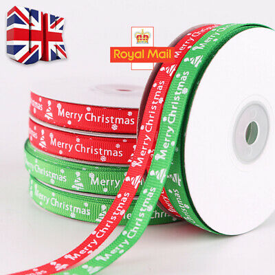25 Yards/Roll Happy Merry Christmas Decoration Red Ribbon Gift Wrapping 10MM UK