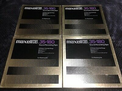 "Lot Of 4 Maxell UD 35-180 10.5"" Reel To Reel Sound Recording Tapes Black Friday"