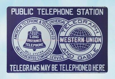 Public Telephone Station Telegrams May be Telephoned Here metal tin sign