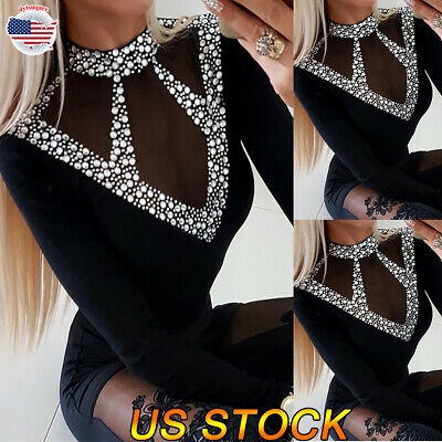 Womens Long Sleeve Loose T-Shirt Ladies Pearl Casual Blouse Tops Tee Sexy V Tops
