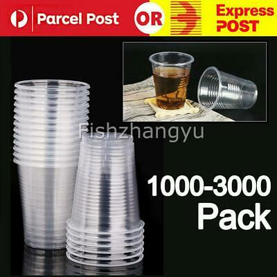 Disposable Plastic Cups Clear Reusable Drinking Water Cup Party Set 200ml Bulk O
